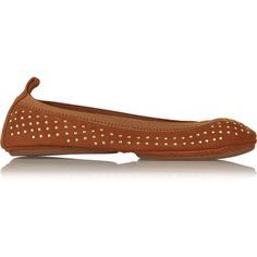 Yosi Samra Studded suede ballet flats (61 CAD) ❤ liked on Polyvore featuring shoes, flats, brown, suede flats, round toe flats, studded ballet flats, brown suede shoes and slip on flats