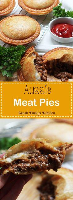 Aussie Meat Pies - World Dinner Recipes - Torten Aussie Pie, Australian Meat Pie, Aussie Food, Australian Recipes, Meat Recipes, Dinner Recipes, Cooking Recipes, Appetiser Recipes, Savoury Recipes