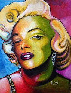 Modern Acrylic painting of Marilyn Monroe by Barney Ortiz