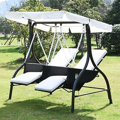 Ultimate relaxing seating option in your garden with a canopy swing seat. From steel tubular contruction, authentic antique designs to the tradition wooden frame varieties. 3 Seater Garden Swing, 3 Seater Swing, Garden Swing Seat, Garden Hammock, Garden Canopy, Porch Swing, Canopy Swing, Hammock Swing Chair, Swinging Chair