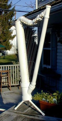 PVC harp - perhaps I could make an Aeolian harp out of PVC pipes!