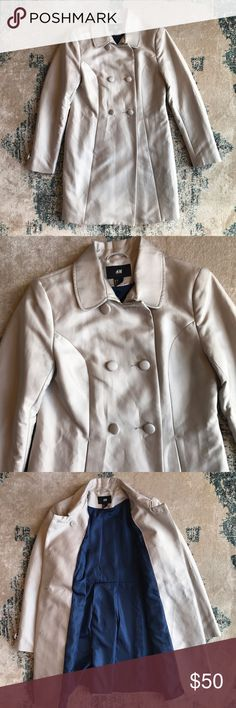 H&M dress coat! NWOT NWOT H&M dress coat! In perfect condition with blue satin-like lining! The coat is very soft and reminds me of something Audrey Hepburn would wear! Size 10. I offer discounts on bundles and all reasonable offers will be considered! H&M Jackets & Coats