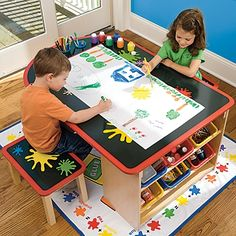 Love all the built in storage. For girls who LOVE crafts this would be fantastic!!!   Art TableLeaps And Bounds Kids