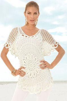 Schöne häkeln Bluse / Tunika, handgefertigt, ganz neu. für Sie jede Größe Bluse auf Anfrage Die Fähigkeit, Tuniken / Blusen in verschiedenen Farben und Größen.  Finden Sie in meinem Shop! :)