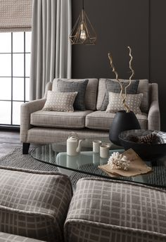 Temperate modern loft living featuring Odonata 'Mushroom on Natural' blind & cushions and Temperate 'Fungi on Beige' sofa with additional Temperate 'Anthracite on Black' cushions