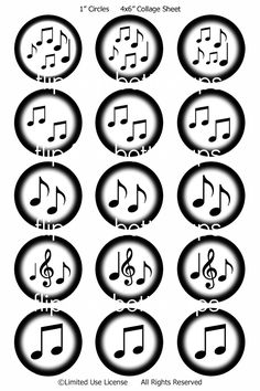 music note digital bottle cap image by FlipflopBottlecaps Bottle Cap Magnets, Bottle Cap Crafts, Bottle Caps, Happy Birthday Banner Printable, Printable Banner, Happy Birthday Banners, Image Sheet, Music Paper, People Fall In Love