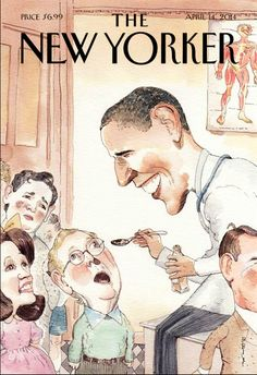 Check out the cover image for this month's issue of the New Yorker, in which Dr. Obama is depicted spoon-feeding medicine to child-versions of Mitch McConnell, Michelle Bachmann and Ted Cruz (a fourth youth, House Speaker John Boehner, can be seen trotting off after getting his dosage.)