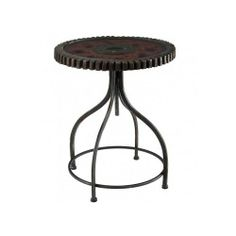 Steampunk Industrial Table Rusty Gears End Side Accent Metal Glass Round Black - side table