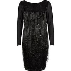 Black Beaded Tassel Bodycon Dress from River Island R4800,00