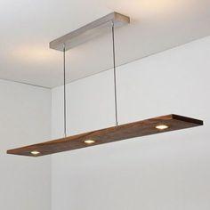 Luminaire suspendu rectangle argent brossé et bois noyer.