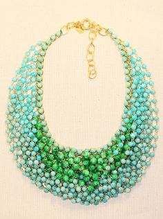 The Rachelle Necklace in Blue. Blue and Green Beaded Statement Necklace at www.sabiboutique.com!