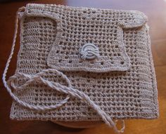 Filet Crochet Ecru Evening Bag from Vintage Doily by chameleonCMC, $8.00
