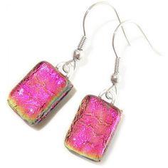 Roze oorbellen gemaakt van prachtig roze glas! Luxe lange oorhangers uit eigen…