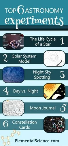 6 Astronomy Experiments and Activities You Don't Want to Miss The top 6 astronomy experiments and activities we don't want you to miss.The top 6 astronomy experiments and activities we don't want you to miss. Earth Science Experiments, Earth Science Activities, Earth And Space Science, Space Activities, Teen Activities, Science Curriculum, Science Fun, Science Education, Physical Education