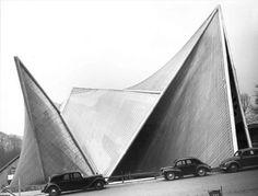 "wmud: "" le corbusier - philips pavilion, brussels world fair, 1958 "" Alvar Aalto, Gothic Architecture, Architecture Design, Modern Hepburn, Exposed Concrete, Philips, World's Fair, Brutalist, Beautiful Buildings"