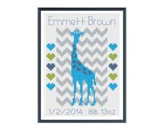 Giraffe Boy Birth Announcement Cross Stitch Pattern Instant Download