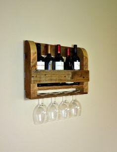 Rustic Wine Rack With Wine Glass Holders.