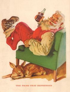 Coke Coca Cola Christmas Santa Deer Advertisement Ad 1958 Vintage Print Matted #CocaColaCoke
