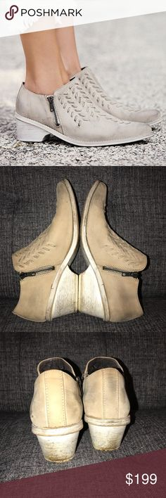 FREE PEOPLE Indio Dove Grey Ankle Boot • Size 38 The stunning real leather western Boot. I've love these since I got them, just passing them on as I'm getting rid of shoes. Worn plenty of times, but still have lots of life. I will guarantee you'll receive many compliments on these! Don't miss out on the hard to find shoes, retails at $305 & sold out everywhere!  Only flaw-the zipper on left boot broke one of the first times I wore these, but didn't keep me from wearing them. I only used the…