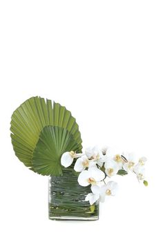 love a touch of tropical Faux Flower Arrangements, Table Arrangements, Faux Flowers, Silk Flowers, Garden Club, White Orchids, Table Flowers, Reception Table, Ikebana