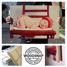What a wonderful Idea for #babyphotos, The wood grain showing through brings a #organic and #unique feel to any treasured photo. www.woodsnap.com