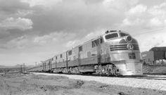 C&S train, engine number 9951 + additional diesel unit, engine type EMC E5Train #22, Texas Zephyr; 9 cars. Photographed: Leaving Denver, Colo., ca. 1960. Diesel, Southern Railways, Burlington Northern, Denver, Train Engines, Busses, Train Rides, Locomotive, Taxi