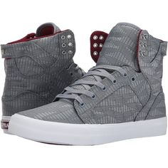 Supra Skytop HF Men's Skate Shoes (240 BRL) ❤ liked on Polyvore featuring men's fashion, men's shoes, men's sneakers, shoes, men, grey, mens grey sneakers, mens gray dress shoes, mens shoes and mens sneakers
