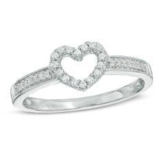 Zales 1/8 CT. T.w. Diamond Heart-Shaped Knot Split Shank Ring in Sterling Silver Cfskgc3