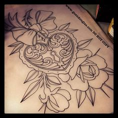 Heart Locket Tattoo for me and Jamie could get the key. Possible coverup idea for my back.