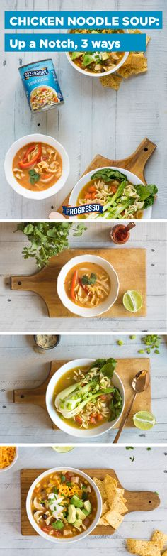 Up A Notch: take your favorite soups (like chicken noodle) and create a masterpiece in minutes by adding fresh and unexpected flavor combinations!