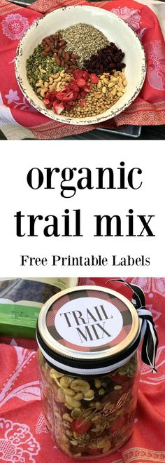 Trail mix is made even better when using organic and tasty mix-ins. Give the gift of flavor when you whip up a batch of this trail mix and gift it with this free printable mason jar label! Sausage Recipes, Beef Recipes, Chicken Recipes, Healthy Recipes, Soup Recipes, Salad Recipes, Vegetarian Recipes, Lasagna Recipes, Spinach Recipes