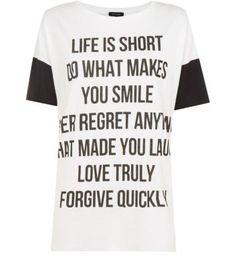 White Contrast Sleeve Slogan Oversized T-Shirt
