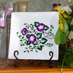 Purple Flowered Square Ceramic Plate by Paint It Pretty - $20.00 - Handmade Pottery And Ceramics, Crafts and Unique Gifts by PaintItPretty #thecraftstar #uniquegifts #giftsunder30