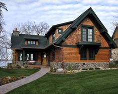 Lake Country Builders traditional exterior - combination of shingle and lap siding with dormers. Log Homes Exterior, Exterior Siding, Exterior House Colors, Exterior Design, Siding Colors, Stone Exterior, Stone Siding, Exterior Paint, Country Builders