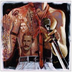 """Freddy Mercury painting by Serge Gay Jr. for his solo show, """"Gold"""" on view @ Spoke Art, SF. April 2014"""