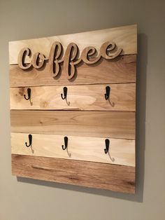 Decor, Coffee Signs, Wooden Cutouts, Farmhouse Decor, Coffee Cup Rack, Mug Rack, Rustic Kitchen, Rack, Coffee Cups