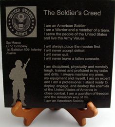 "1029 - Engraved Granite Army 6x6 Creed Add rank, name, company and duty station in box below to be added to your engraving CONSIDER ADDING A 5"" WOODEN DISPLAY EASEL"