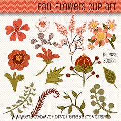 Flowers Clip Art Kit | Beautiful Flower Graphics | Digital Downloads | Clip Art | Digital Scrapbooking Elements | Digital Art Illustrations