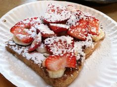 FRENCH TOAST WITH NUTELLA, STRAWBERRIES, BANANAS, AND POWDERED SUGAR. There's a lot more available than hot dogs and marshmallows when planning your camping meals.  I went on a scout camp out this weekend and decided to show the boys some very easy and delicious recipes that work great with limited kitchen/cooking supplies. http://thebaldgourmet.com/gourmet-camping-recipe-french-toast-with-nutella-strawberries-bananas-and-powdered-sugar/#sthash.Z3rXW6zF.dpbs