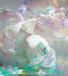 Валерий Блохин. Яркая живопись на грани абстракции. Брод. 90х80 холст масло