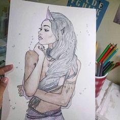 """103 curtidas, 6 comentários - Hiasmyn L. (@hiasmynl.ilustras) no Instagram: """"Seja tão brilhante quanto você sonhou. ✨ {10/366}""""    een #illustration #watercolor #woman #art #mulher #mulhernegra #sereia #rainhanegra #aquarela #ilustração #arte"""
