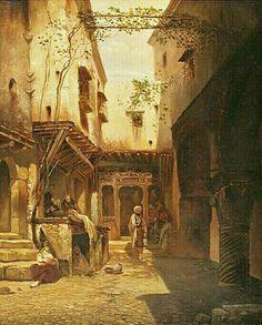 Algérie - Peintre Français, FLANDIN Eugène-Napoléon, (1809-1889), Huile sur toile 1838, Titre : La Cour du Café Maure, Alger