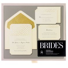 <div><div><div><div>This pretty, gold foil invitation kit is perfect for a wedding, rehearsal di...