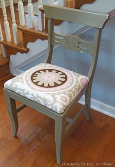 cute dining chair, love the upholstery fabric