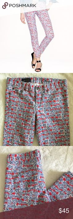 J.Crew liberty toothpick jean Matilda tulip floral J. Crew Liberty toothpick jean in Matilda tulip floral. Size 26. Gently used, good condition. Perfect jeans for spring or just to jazz up a casual look. Offers welcome. Bundle and save.   :::A4 J. Crew Jeans