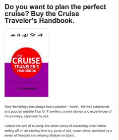 """Review of """"The Cruise Traveler's Handbook on Great Boat Journeys: http://greatboatjourneys.wordpress.com/2013/12/10/do-you-want-to-plan-the-perfect-cruise-buy-the-cruise-travelers-handbook/"""