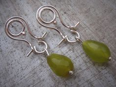 Chartreuse Green Jade Hinged Sterling Earrings on by hingedjewelry