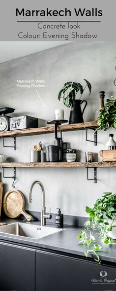 What to say more. This beautiful kitchen in concrete look with the Marrakech Walls paint in the colour Evening Shadow. Mooie stoere sfeer heeft de keuken met de Marrakech Walls verf in de kleur Evening Shadow. Cred: Muk van Lil, Huize Dop. www.pure-original.com