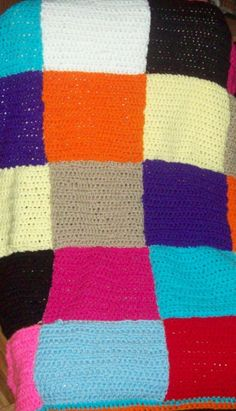 Colorful Squares Afghan by amydscrochet on Etsy, $25.00