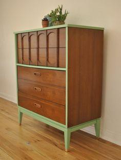 Mid Century Danish Tallboy Dresser